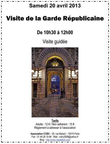 garde républicaine,ccbv,paris 15,visite