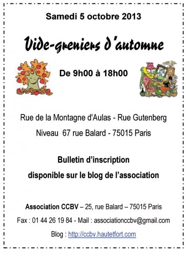 vide-grenier,paris 15,association CCBV